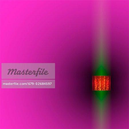 Sequenzierung Gene, konzeptuellen Kunstwerk. Autoradiogram (Orange), umgeben von einem grünen Glanz. Autoradiograms zeigen die Reihenfolge der Nukleotide Basen (Grundbausteine) in einer Probe von DNA (Desoxyribonukleinsäure). DNA enthält Abschnitte, genannt Gene, die die körpereigene genetischer Informationen zu codieren, jede Zelle Struktur, Funktion und Verhalten bestimmen.