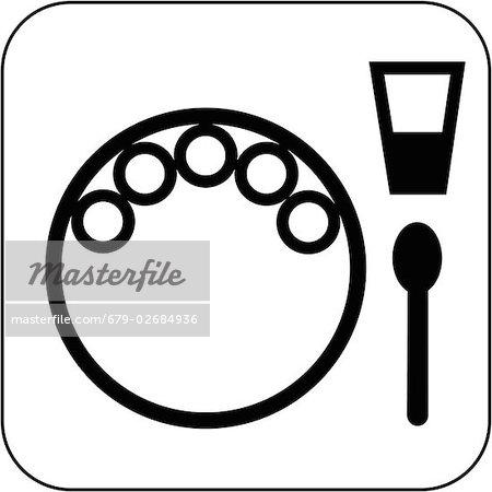 Vegetarische Mahlzeit Symbol, Computer-Grafiken. Die Symbole auf der Platte stehen Gemüse.