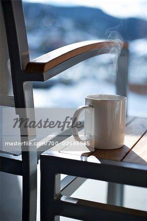 Coffee Mug on Deck, Whistler, British Columbia, Canada