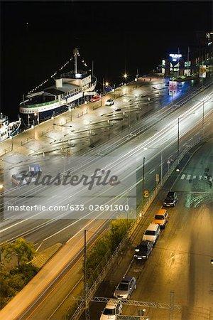 Suède, Stockholm, allume la rue la nuit