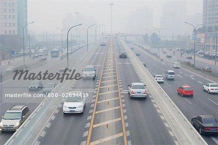 Trafic, Freeway et Smog, Beijing, Chine