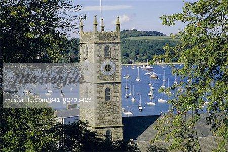 Falmouth Kirche bietet Ausblick von Carrick Roads, Falmouth, Cornwall, England, Vereinigtes Königreich, Europa