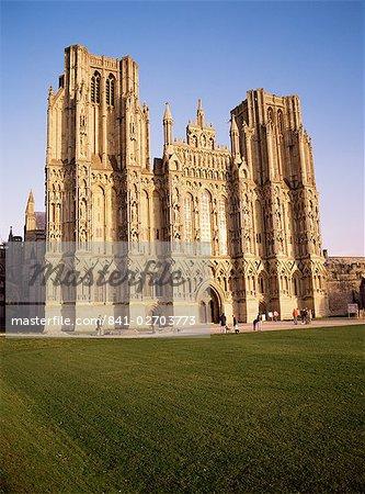 Westfront, St. Andrew 's Cathedral, Wells, Somerset, England, Vereinigtes Königreich, Europa