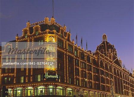 Harrods at night, Knightsbridge, London, England, United Kingdom, Europe