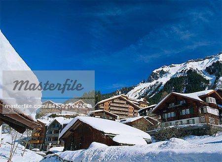 Chalets et hôtels, Wengen, l'Oberland bernois, les Alpes suisses, Suisse, Europe