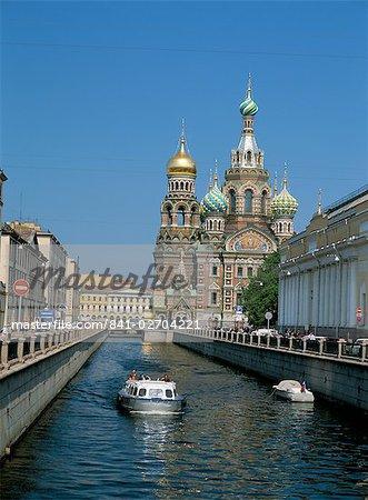 Canal et l'église de sang répandu, Site du patrimoine mondial de l'UNESCO, Saint-Pétersbourg, en Russie, Europe