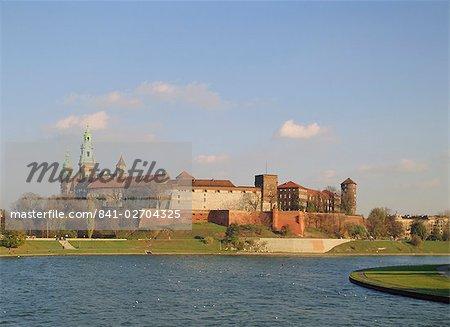 The Royal Castle and Krakow Cathedral, Wawel Hill, Vistula River, Krakow, Poland