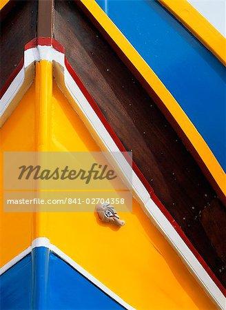 Nahaufnahme der bunten Boot in Marsaxlokk, Malta, Europa