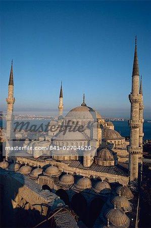 Mosquée bleue à la tombée de la nuit, Istanbul, Turquie, Europe
