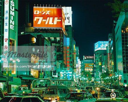 Rue la nuit, Tokyo, Japon