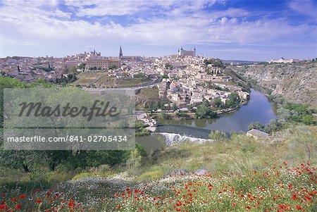 View of the city and Tagus River (Rio Tajo), Toledo, Castilla La Mancha, Spain, Europe
