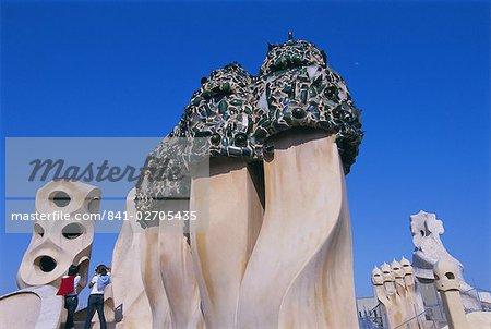 Maison d'architecture de Gaudi, la Casa Milà, La Pedrera, patrimoine mondial de l'UNESCO, Barcelona, Catalunya (Catalogne) (Catalunya), Espagne, Europe