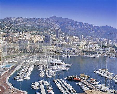 Vue sur le port et la ville, Monte Carlo, Monaco, Côte d'Azur, l'Europe