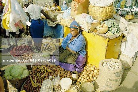 Woman selling vegetables in the city market, Praia, Santiago Island, Cape Verde Islands, Africa