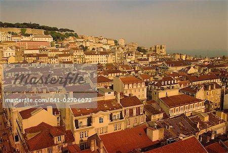 Grande vue sur la ville centre, Lisbonne, Portugal, Europe