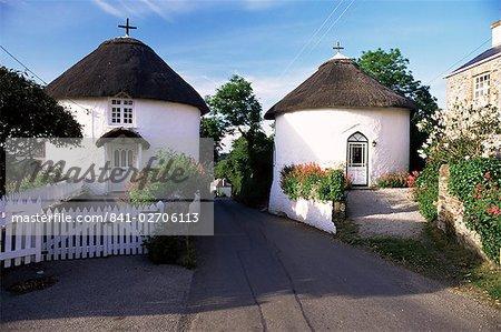 Maisons traditionnelle ronde Cornish, Veryan, Cornwall, Angleterre, Royaume-Uni, Europe