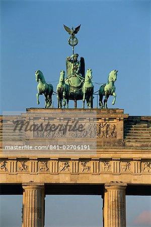 Close-up of the Quadriga atop the Brandenburg Gate, Berlin, Germany, Europe