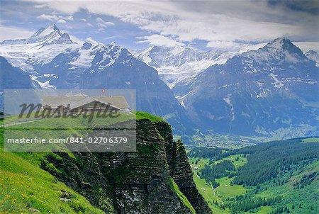 Visage de Grindelwald et nord de l'Eiger montagne, Grindelwald, Jungfrau région, Oberland bernois, Suisse Alpes, Suisse, Europe