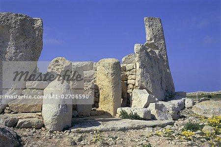 Megallithic temple datant de 3000 av. j. c, Hajar Qim (Hagar Qim), l'UNESCO World Heritage Site, Malta, Europe