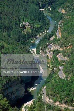 Vue aérienne des Gorges du Tarn de Roc des Hourtous, en Lozère, Languedoc Roussillon, France, Europe