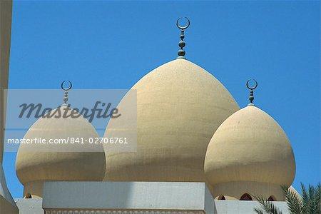 Les dômes de la mosquée de Ber Dubai, Dubai, Émirats Arabes Unis, Moyen-Orient
