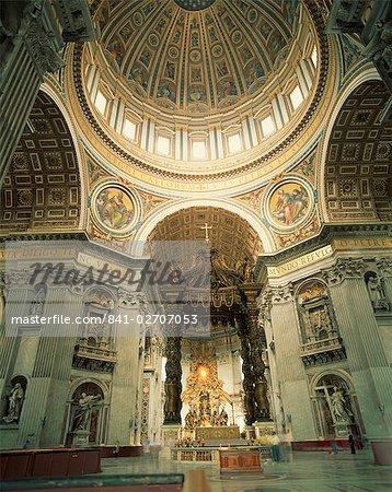 Interior of St.Peter's Basilica, The Vatican, Rome, Lazio, Italy, Europe