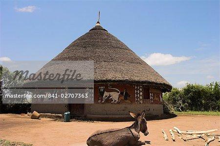 Maisons peintes des peuples Alaba près d'elle, la vallée du Rift, en Ethiopie, Afrique
