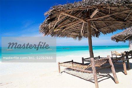 Beach parasol overlooking Indian Ocean, Jambiani beach, island of Zanzibar, Tanzania, East Africa, Africa