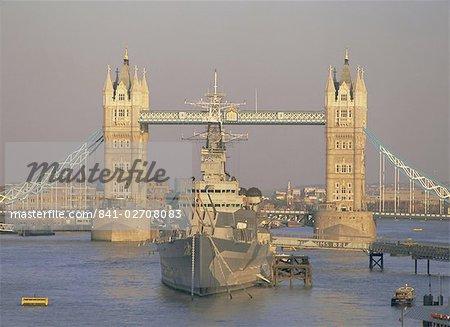 River Thames, Tower Bridge and HMS Belfast, London, England, United Kingdom, Europe