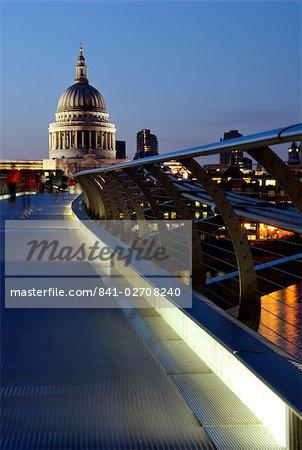 Millennium Bridge and St. Pauls Cathedral, London, England, United Kingdom, Europe