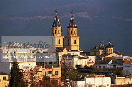 Rooftops and church at sunset, Orgiva, Alpujarras, Granada, Andalucia, Spain, Europe