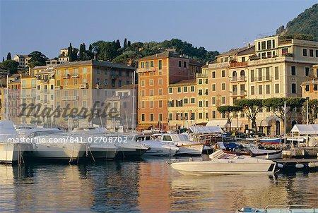View across the harbour at sunrise, Santa Margherita Ligure, Portofino Peninsula, Liguria, Italy, Europe