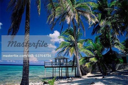 Waterside restaurant beneath palms, Old Man Bay, Grand Cayman, Cayman Islands, West Indies, Caribbean, Central America