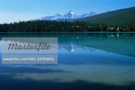 Les eaux tranquilles du lac Emerald dans l'été, le Parc National Yoho, UNESCO World Heritage Site, (Colombie-Britannique), Canada, Amérique du Nord