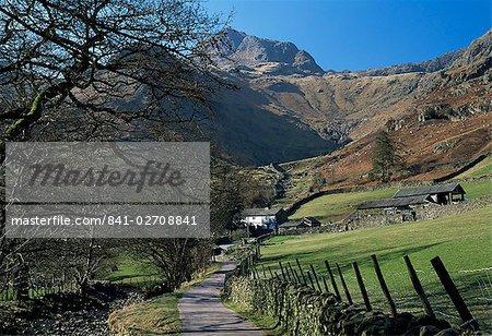Afficher le chemin jusqu'à la ferme, avec Harrison Stickle dominant, Great Langdale, Parc National de Lake District, Cumbria, England, United Kingdom (Royaume-Uni), Europe