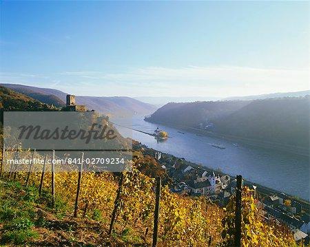 Kaub with Gutelfels Castle, Rhine Valley, Germany, Europe