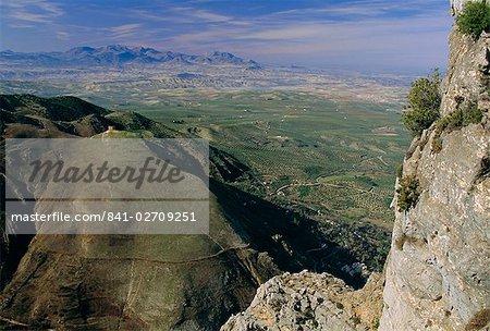 Vue depuis le Parc National de Cazorla, d'oliviers, à distance, Province de Jaen, Andalousie (Andalousie), Espagne, Europe