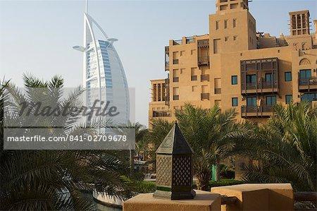 Burj Al Arab Hotel and Madinat Jumeirah Hotel, Dubai, United Arab Emirates, Middle East