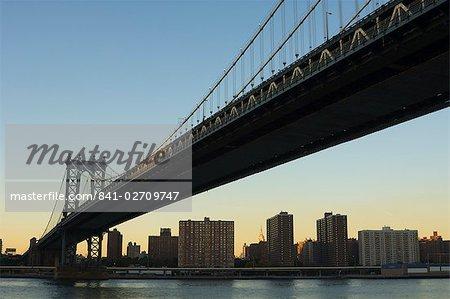 Pont de Manhattan et l'East River, New York City, New York, États-Unis d'Amérique, l'Amérique du Nord