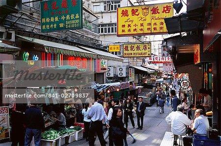 Boutiques et le marché se bloque sur Gage Street, Mid Hong Kong Island, Hong Kong, Chine, Asie
