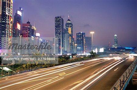 Voie express dans la soirée, Wan Chai, Hong Kong Island, Hong Kong, Chine, Asie