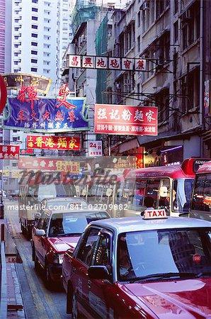 Taxis et bus, Causeway Bay, Hong Kong Island, Hong Kong, Chine, Asie