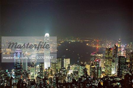 Hong Kong skyline de nuit depuis le sommet de l'île de Hong Kong, Hong Kong, Chine, Asie