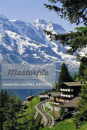 Chemins de fer alpins, Mürren, Jungfrau region, Oberland bernois, Grisons, Suisse, Europe