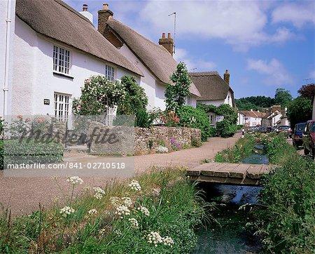 Chaume cottages, Otterton, south Devon, Angleterre, Royaume-Uni, Europe