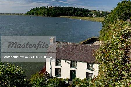 Maison géorgienne de bateau le Dylan Thomas à Laugharne, Carmarthenshire, pays de Galles, Royaume-Uni, Europe