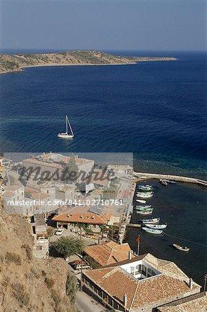 Port de pêche sur le golfe d'Edremit, Behramakale, Assos, Turquie, Aegean, Eurasie