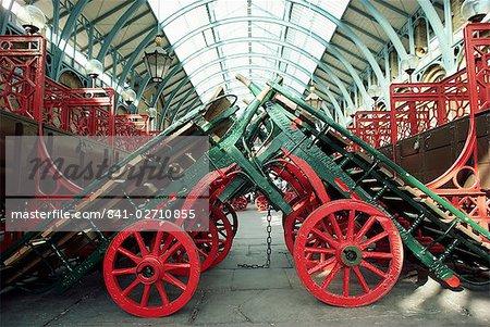 Market barrows in Covent Garden before re-development, London, England, United Kingdom, Europe