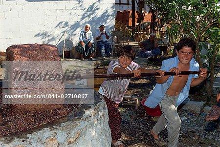 Enfants en appuyant sur les olives dans une olive Pierre Appuyez sur près de Gocek, Anatolie, Turquie, Asie mineure, Eurasie