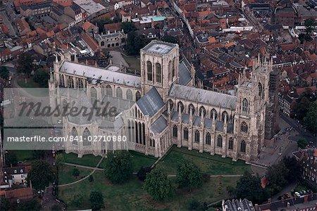 Vue aérienne de York Minster, York, Yorkshire, Angleterre, Royaume-Uni, Europe